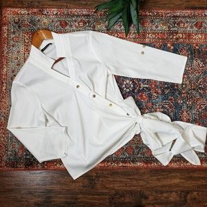 Sarah Pacini White Cotton Blend Wrap Shirt